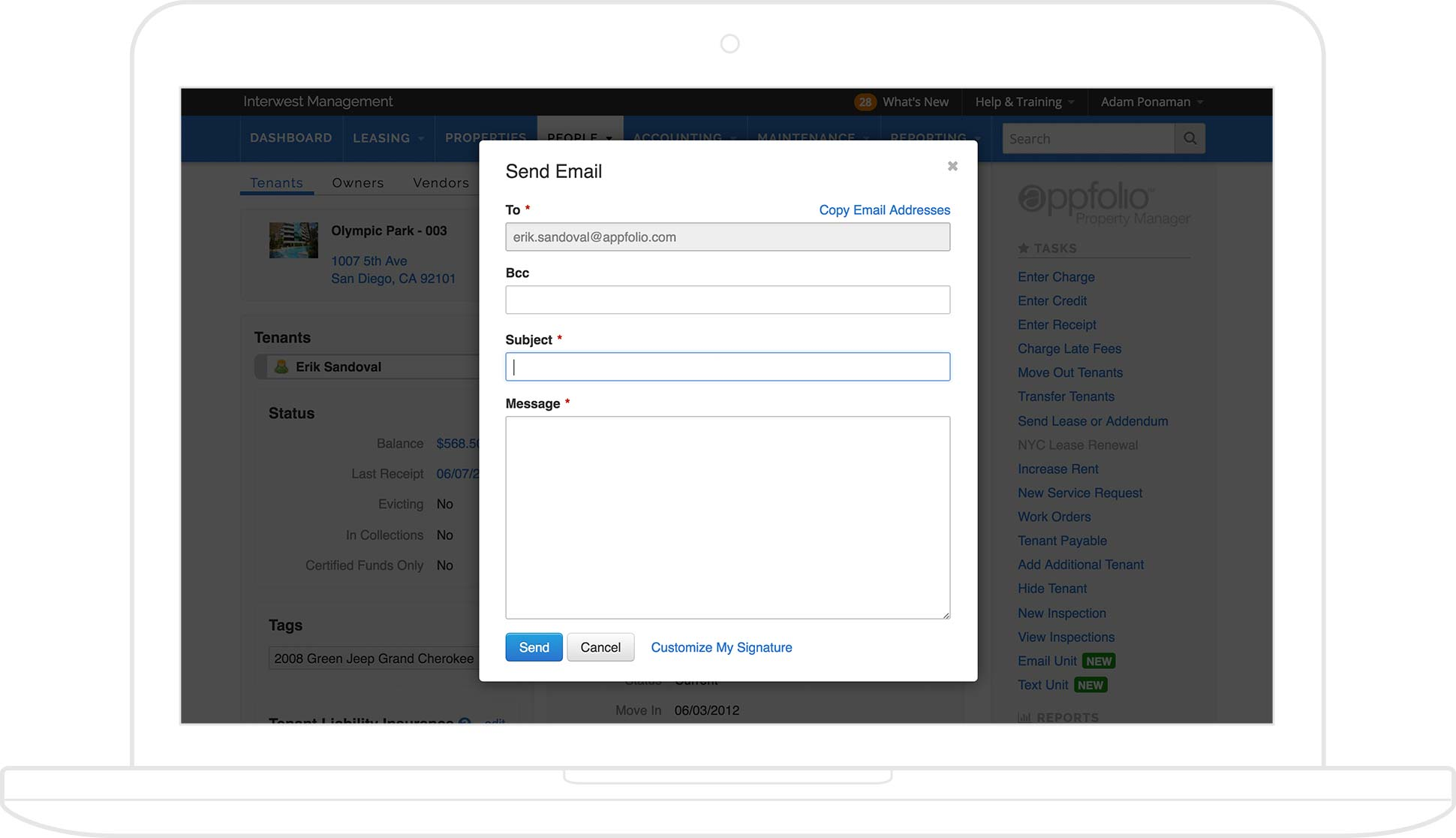 AppFolio screenshot of functionality to send email from the tenant dashboard, displayed on a tablet.