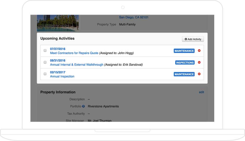 AppFolio screenshot showing upcoming management activities for a rental unit, displayed on a tablet.
