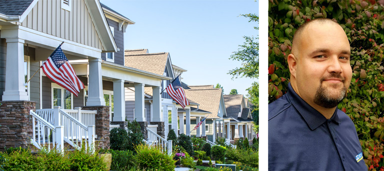 4 neighboring houses & separate headshot image of Mike Carrier, SOMAK Property Management President.
