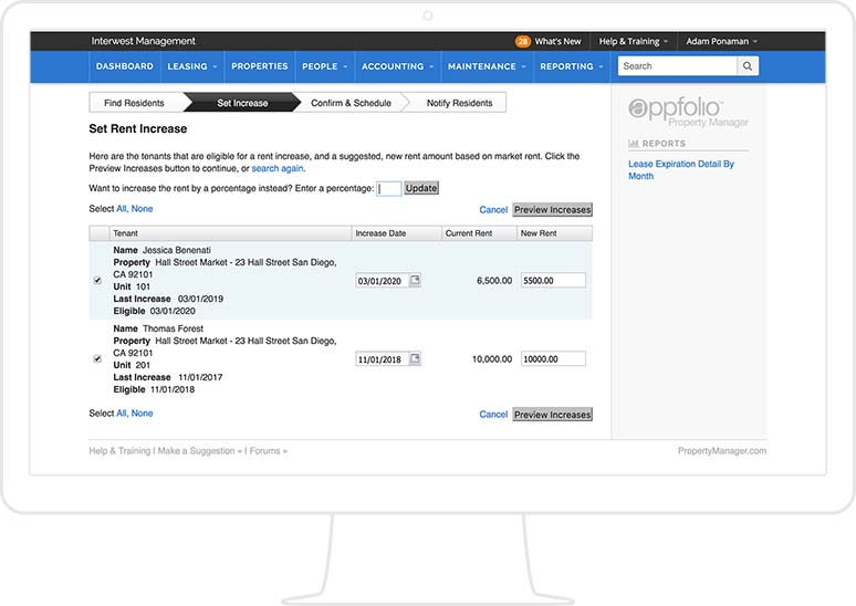 Screenshot of AppFolio's Schedule Rent Increases Tool, displayed on a monitor.