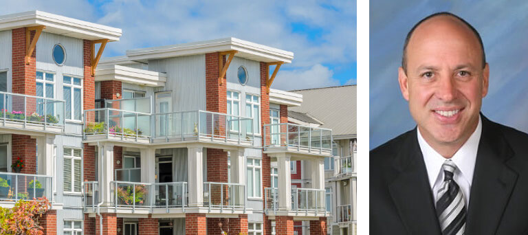 Housing units & a separate headshot image of Tim Cassidy of Cassidy & Associates Real Estate, Inc.