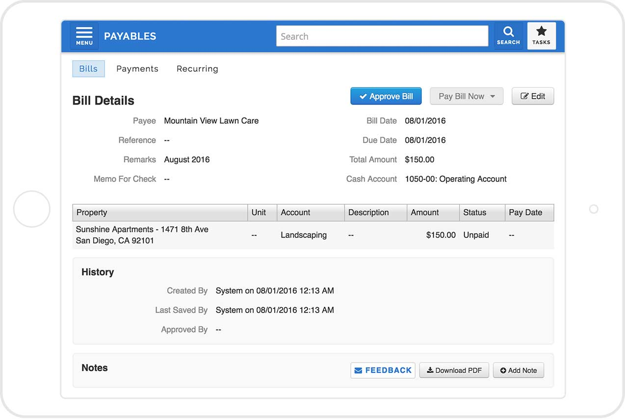 Screenshot of AppFolio's invoice approval feature, displayed on a tablet.