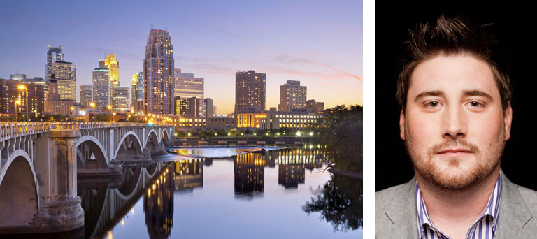 A bridge and city buildings & a separate headshot image of Brenton Hayden, Renters Warehouse CEO.