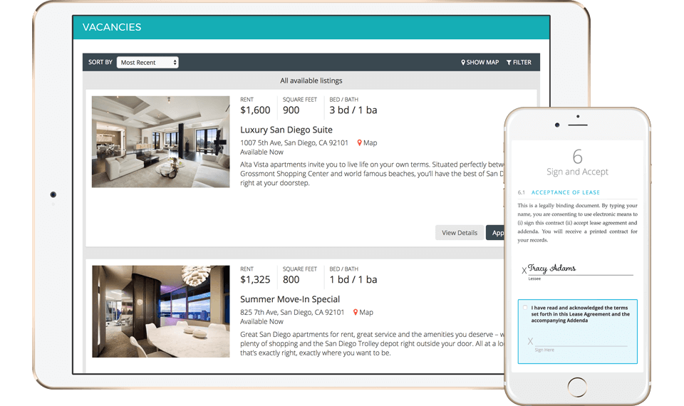 2 AppFolio screenshots: vacancies list displayed on a tablet & lease acceptance function on a phone.