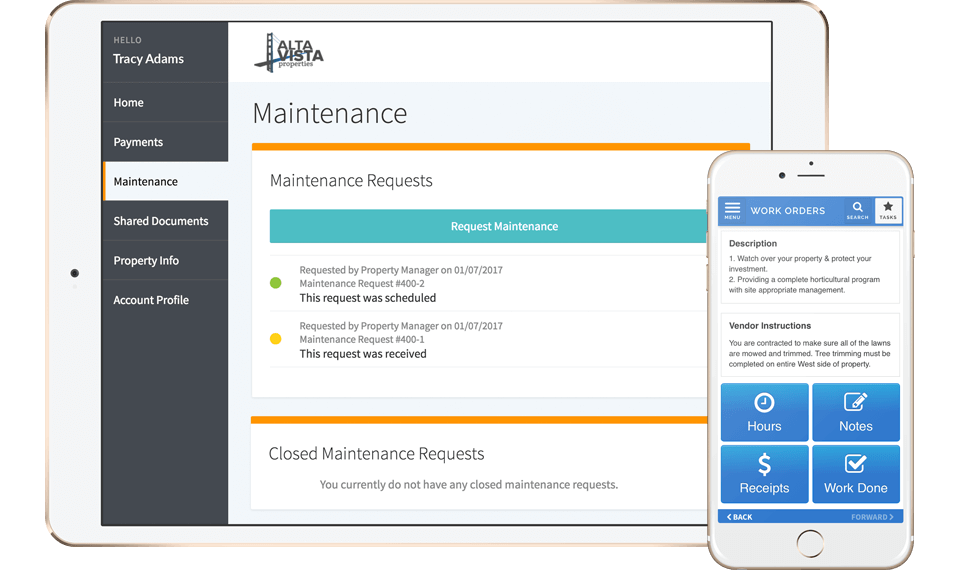 2 AppFolio screenshots: maintenance requests on a tablet & work orders list on a mobile.