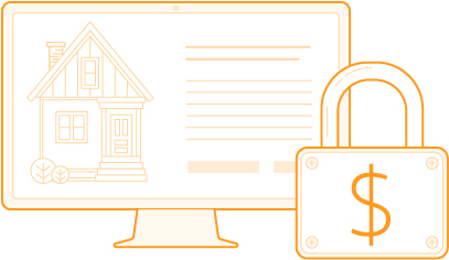 Monitor & padlock, representing AppFolio's online security deposit payments feature - illustration.