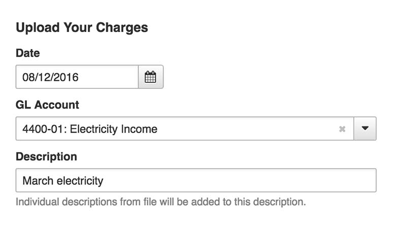 Electricity charges upload, representing AppFolio's bulk tenant charges templates & functionality.