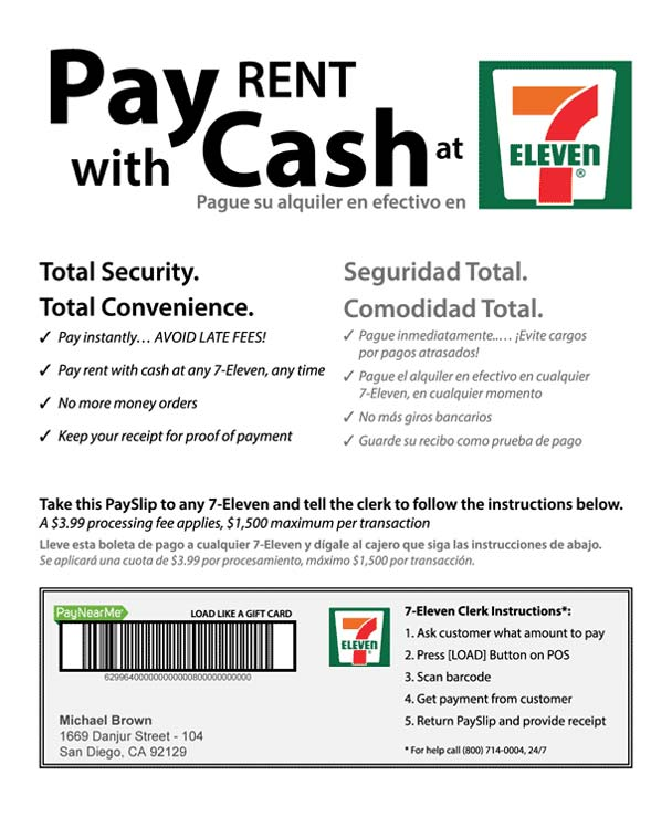 Sample PaySlip for 7-Eleven rent pay, representing AppFolio's Electronic Cash Payments service.