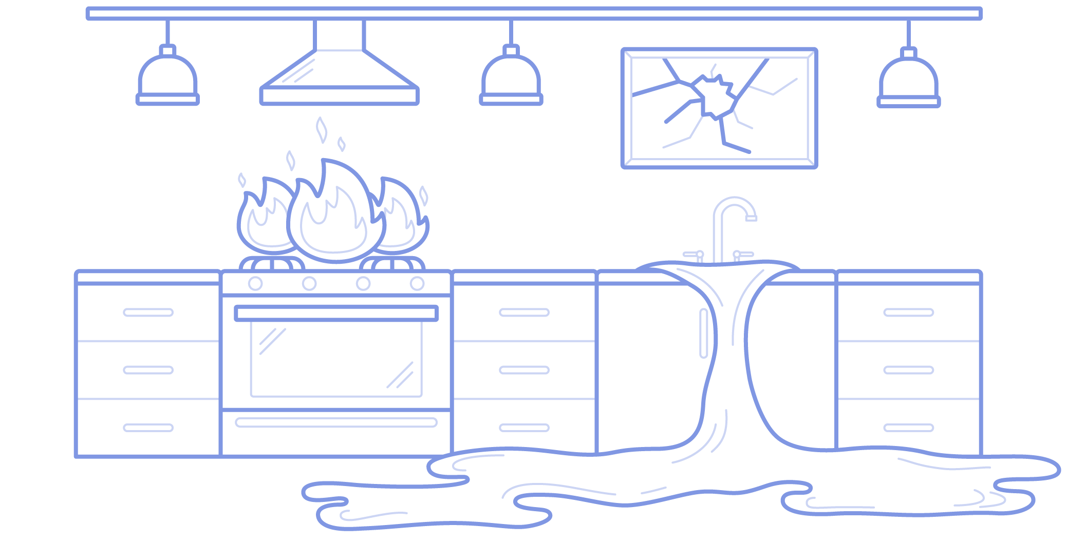 Kitchen stove fire, sink overflow & broken window, representing AppFolio insurance - illustration.