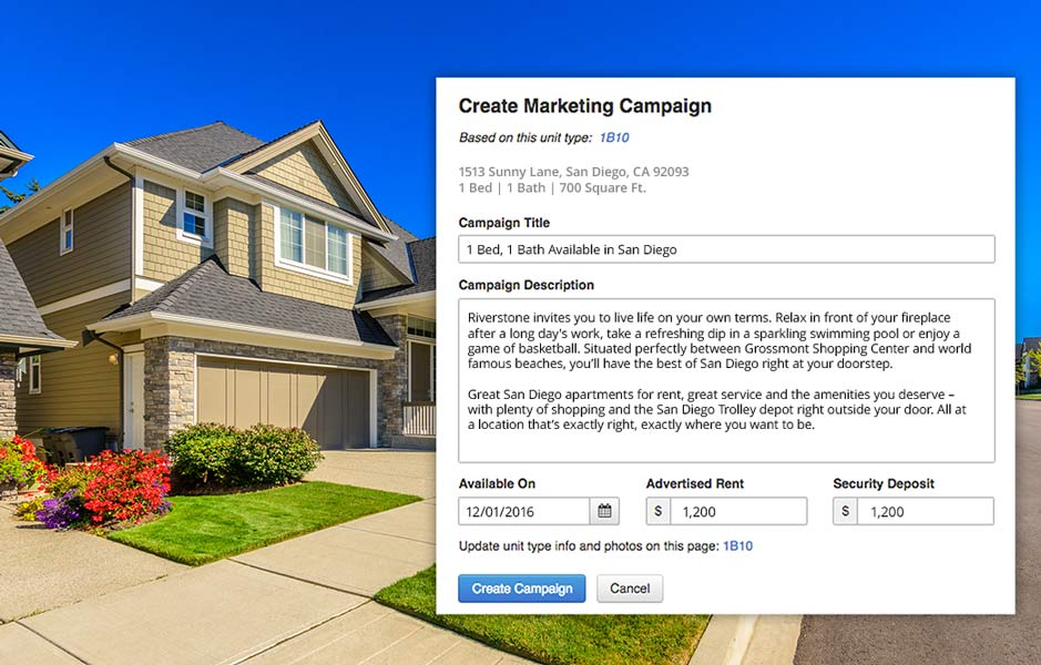 AppFolio screenshot of marketing campaign creation feature on top of a separate image of a house.