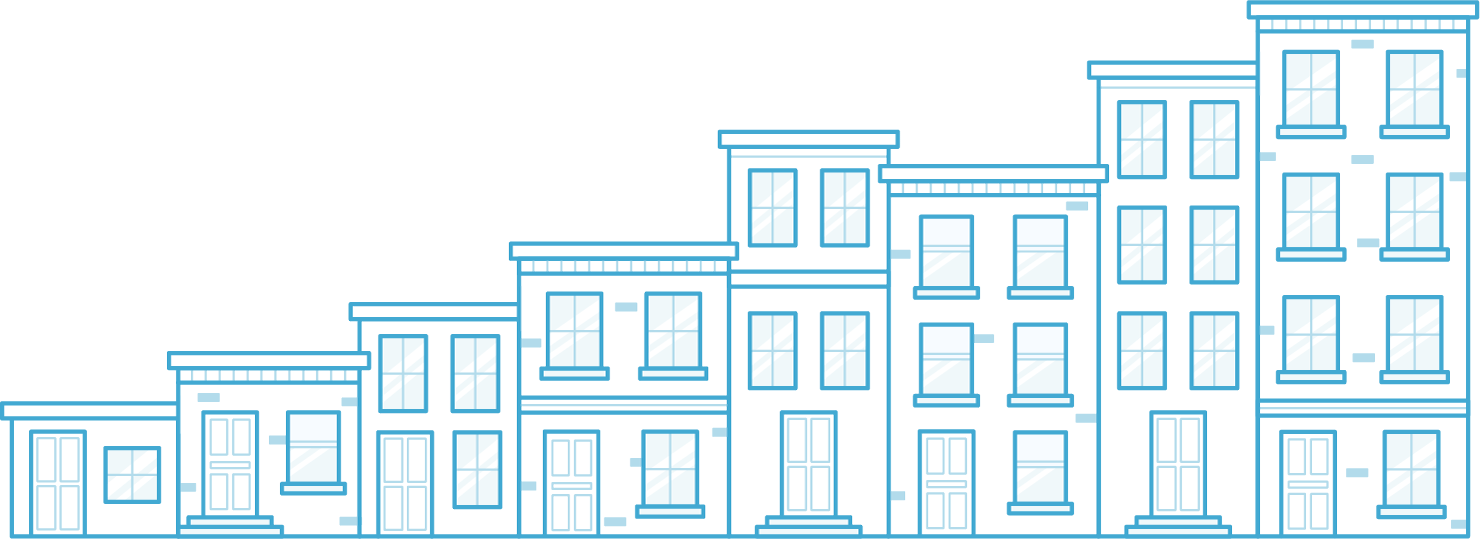 8 buildings, representing property management business growth with AppFolio - illustration.