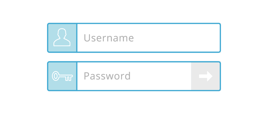 Username & password login icons, representing AppFolio as a complete software system solution.