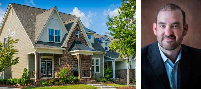 Brick-front house & separate headshot image of Corey Runnels of Specialized Real Estate Group.