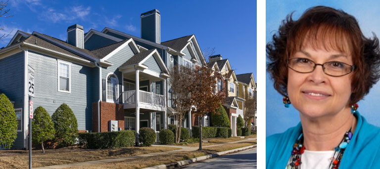 Housing units near a road & a separate headshot image of Connie Miller of MK Property Management.