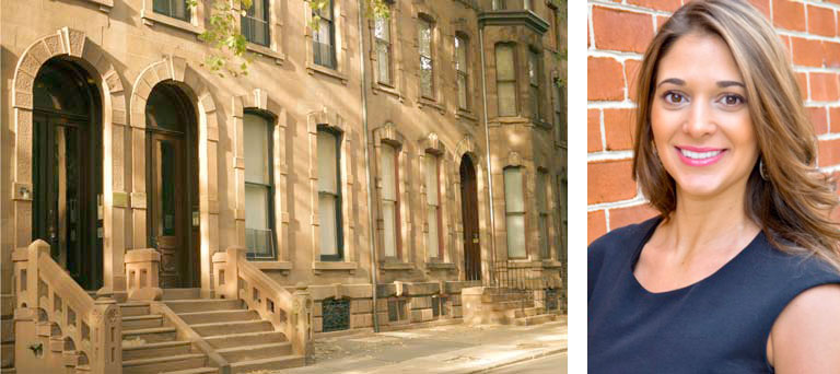 An exterior of a brownstone & a separate headshot image of Alexandria Calukovic of OCF Realty, LLC.