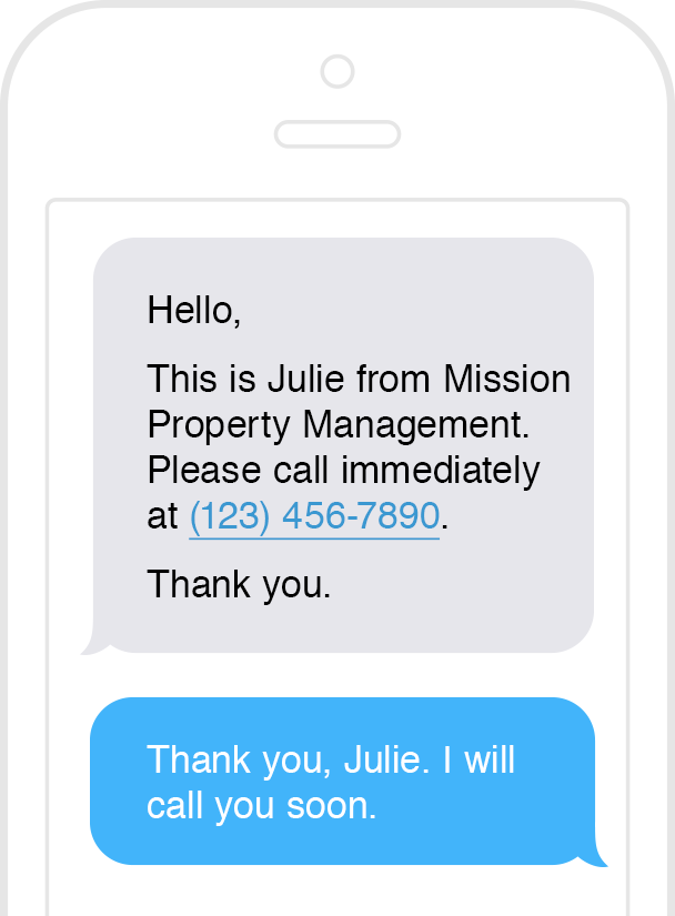 Example text exchange between property management company & tenant using AppFolio's texting feature.