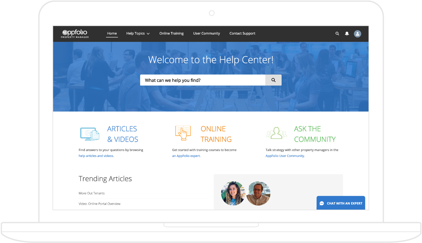 Screenshot of AppFolio's Help Center for training & support resources, displayed on a laptop.
