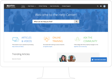 Screenshot of AppFolio's Help Center for training & support resources, displayed on a monitor.
