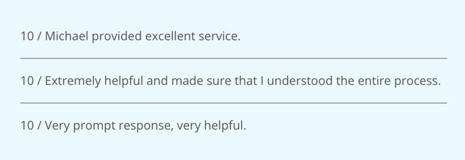 3 examples of feedback comments submitted by customers about their AppFolio Property Manager support experience.