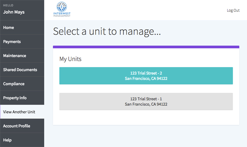 select a unit to manage
