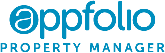 AppFolio Property Manager logo; blue font on a black background.