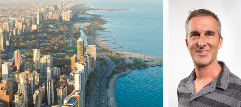An aerial shot of skyscrapers near a body of water & a separate image of Jeff Weinberg's headshot.