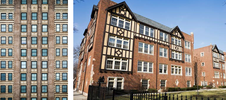 Windows on a 9+ story building & a separate image of a brick 4-story building with wooden trim.