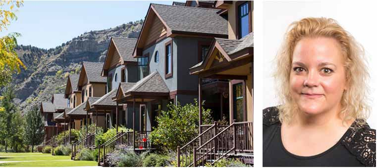 A row of several houses in front of a rocky hill & a separate image of Jennifer Fischer's headshot.