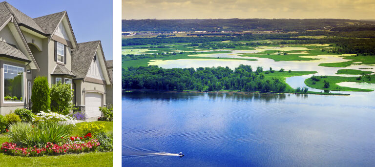 A beige house & a separate image that's an aerial shot of green trees & grass near a blue lake.