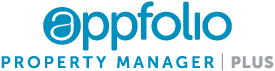 AppFolio Property Manager Plus logo: blue and grey font on a white background.
