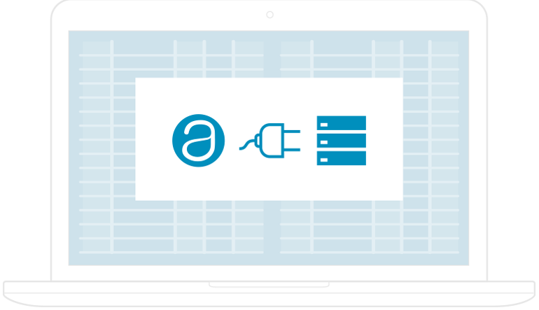 Laptop displaying icons representing AppFolio Report Connection & Limited Data API - illustration.