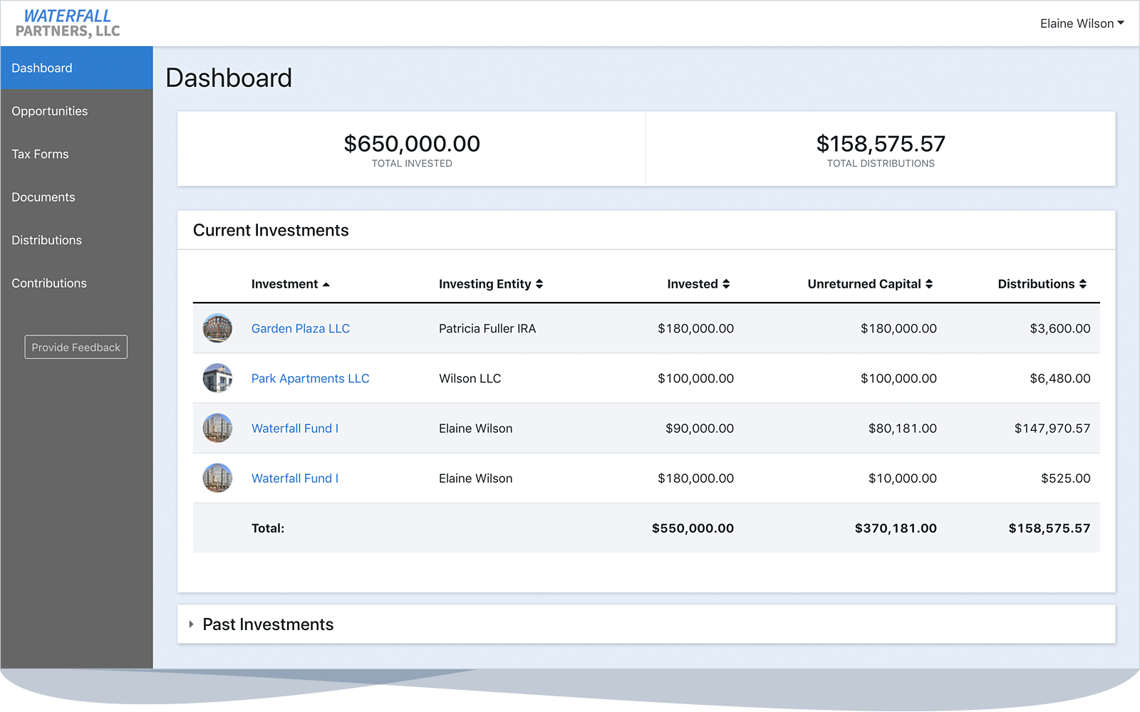 A screen shot of the Investor Portal tool.