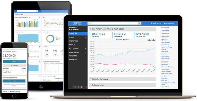 Mobile, tablet & laptop; all have different AppFolio screenshots of accounting & reporting features.