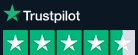 Trustpilot logo above a four star (out of five) rating, white font on a black background.