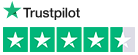Trustpilot logo above a four star (out of five) rating, black font on a white background.