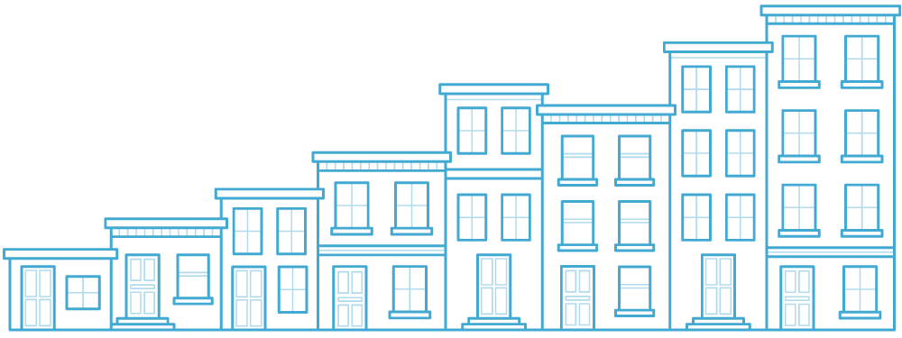 8 buildings, representing property management business growth with AppFolio - outline illustration.